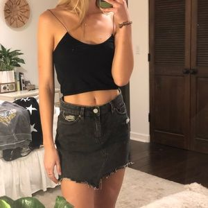 ash grey jean mini skirt